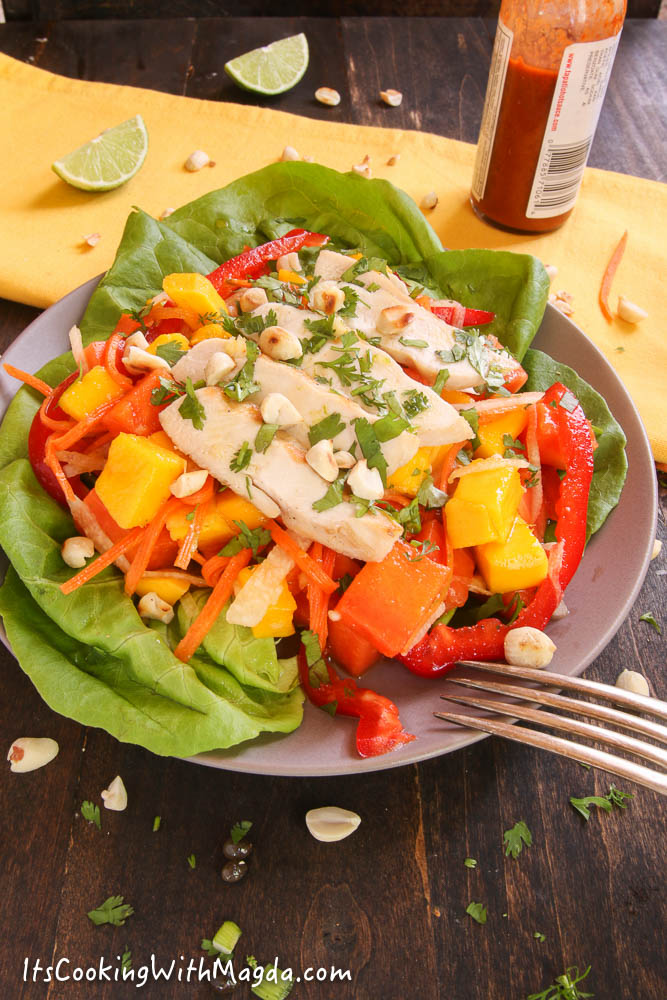 thai chicken salad with mango and papaya with spicy dressing