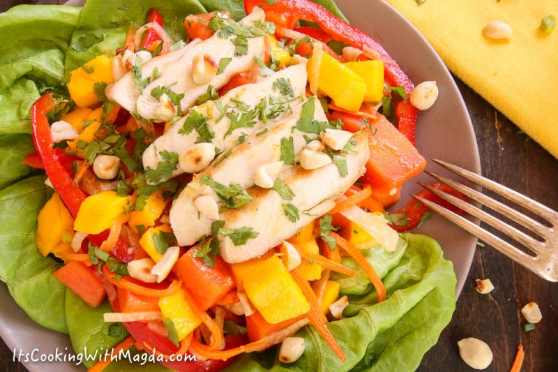 thai salad with mango, papaya, jicama, bell pepper and spicy dressing