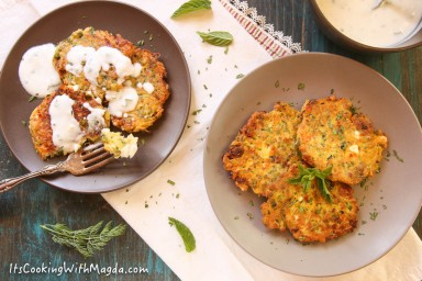 zucchini fritters with herbed yogurt