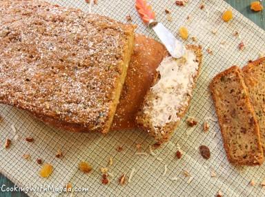 zucchini bread with coconut, walnuts and raisins