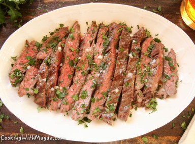 grilled skirt steak with parsley and butter