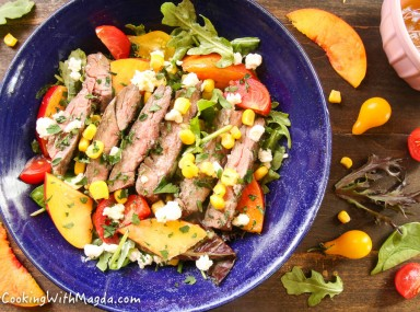 Grilled Skirt steak salad with nectarines and goat cheese