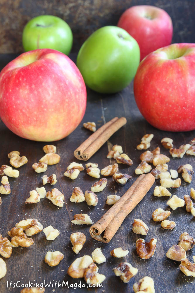 apples, walnuts and cinnamon sticks