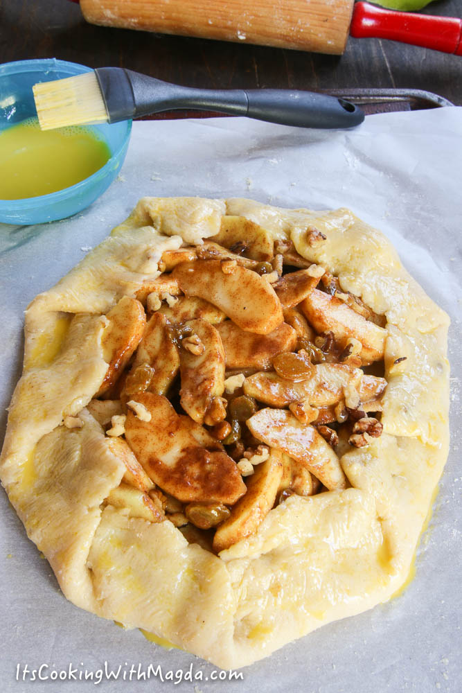 dough folded over sliced apples