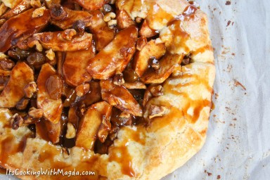 close up of apple galette