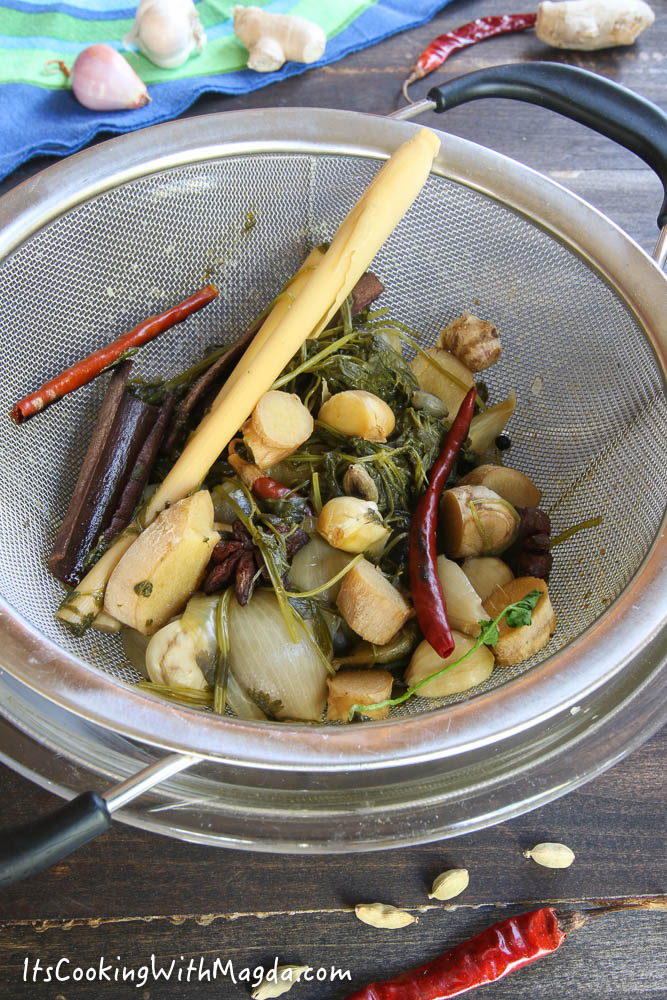 aromatics from the broth