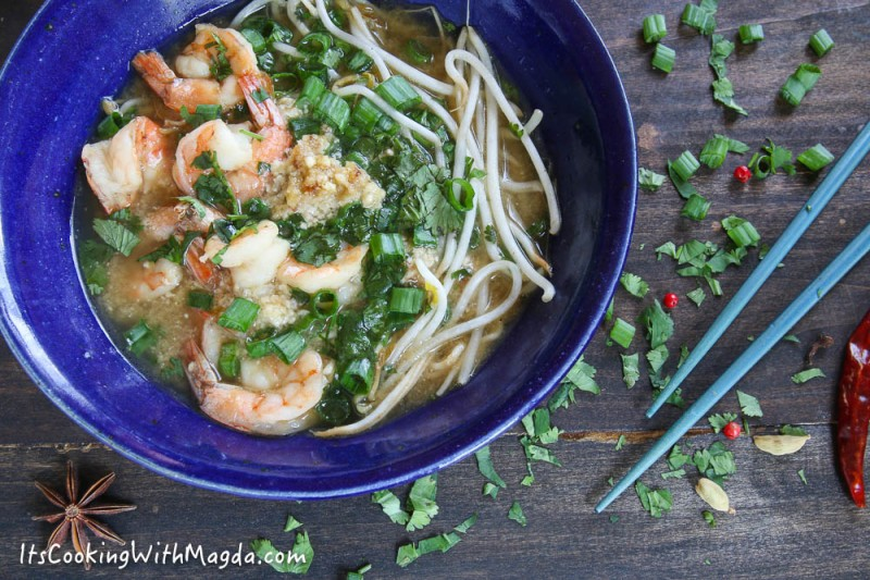 thai shrimp and noodle soup in a bowl