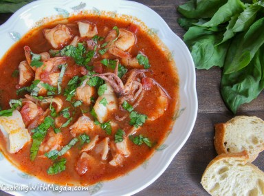cioppino in a white bowl