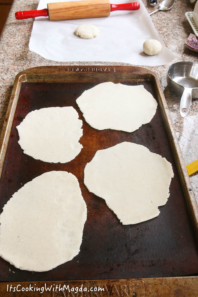 flattened tortilla rounds