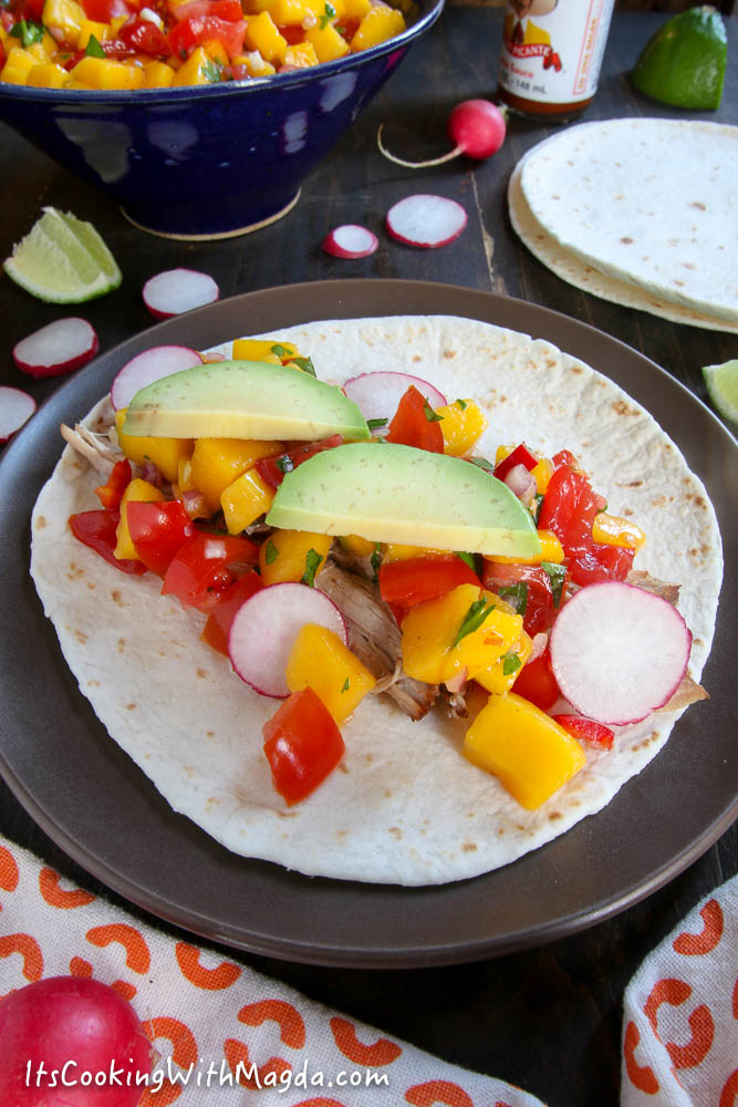 Shredded Pork Taco with Mango Salsa
