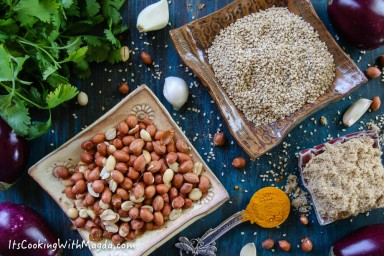 indian eggplants, sesame seeds, nuts, spices