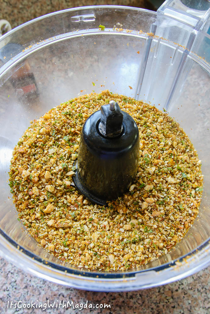 coarse mixture of spices in a food processor