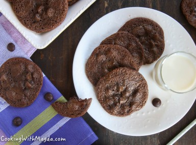 chocolate cookies and a glass of milk on a white plate